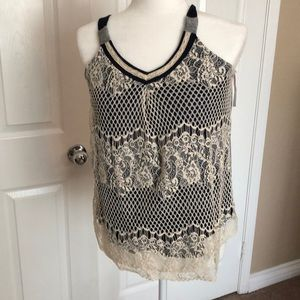 New Blue grey lace top